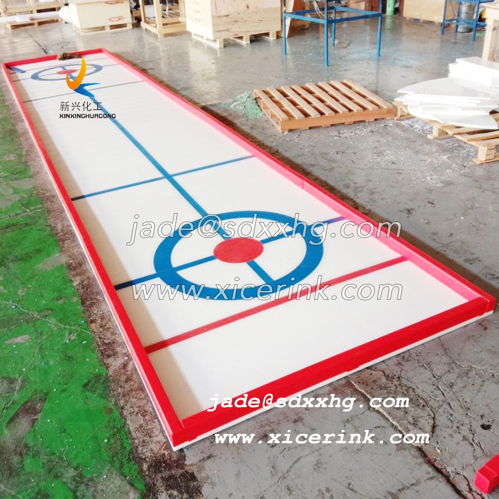 Curling ice board with UHMWPE sheet material